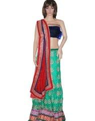 Owomaniya Traditional Green And Red Net Lehenga Choli And Dupatta Set
