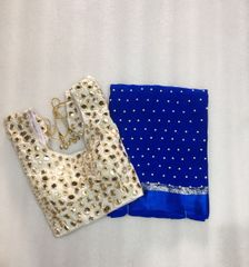 Owomaniya Blue Georgette Pearl Work Fancy Saree With Semi-Stitched Blouse