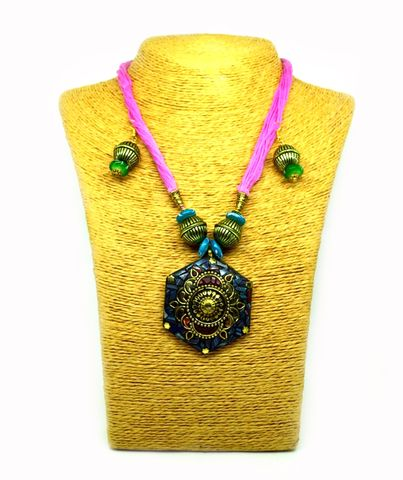 Terracotta Jewellery Set With Matching Hook Drop Earrings (Multi Color Combination) Metallic/Glossy Finish| Bead necklace Set For Women & Girls(HMWJ1854)