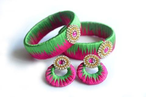 Silk Thread Bengals Set With Matching Stud Earrings Green & Pink Combination Glossy Finish|Stone Work For Women & Girl(HMWJ1910)