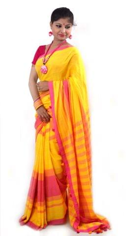 Khadi Cotton Saree With Blouse Material(Yellow & Pink Combination)-Summer Comfort Pure Soft Handloom Traditional Ethnic Wear for Women(HMWCL1066)