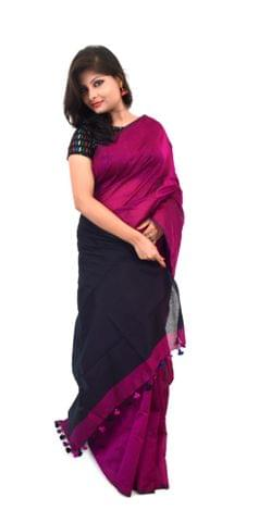 Cotton Silk Saree With Blouse Material(Magenta & Black Combination)-Pure Soft Handloom , Traditional Ethnic Wear for Women(HMWCL1092)