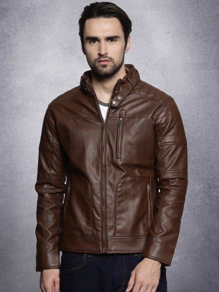 Men Brown Solid Biker Jacket