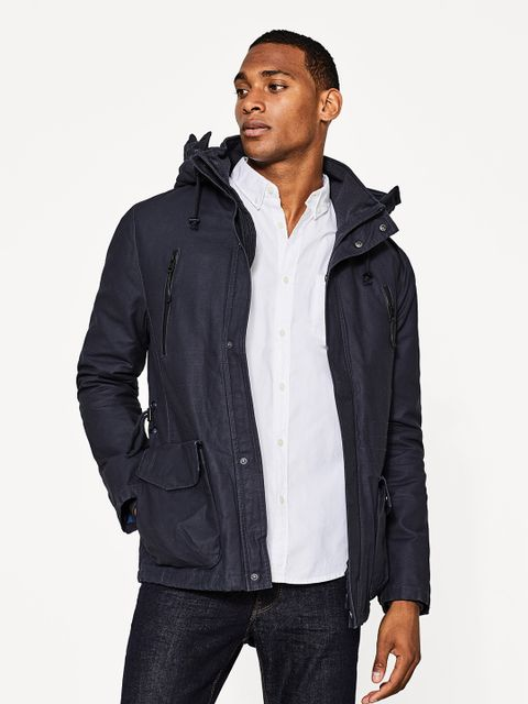 Men Navy Solid Hooded Padded Jacket