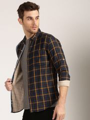Men Navy & Yellow Checked Casual Shirt