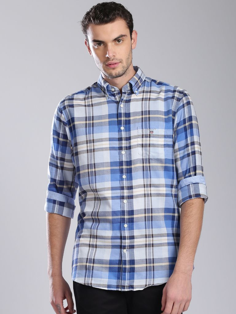 Men Blue & Off-White Regular Fit Checked Casual Shirt