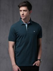 Men Navy Blue Solid Polo T-shirt