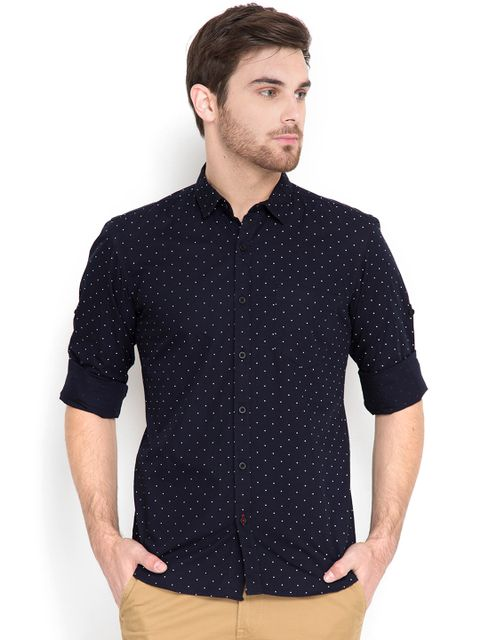 Men Navy Slim Fit Polka Print Casual Shirt