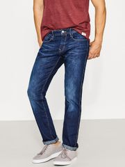 Men Navy Straight Fit Low-Rise Clean Look Stretchable Jeans
