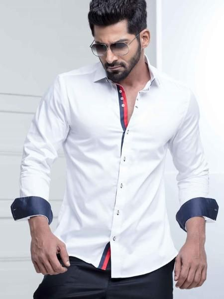 White Tailored Fit Casual Shirt