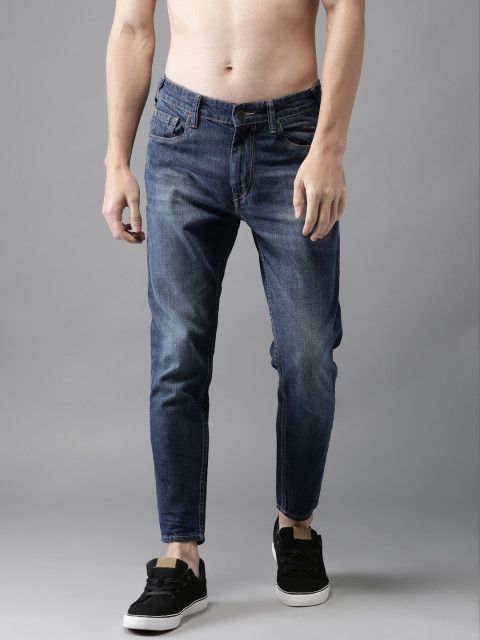 Men Blue Slim Tapered Fit Mid-Rise Ankle-Length Jeans