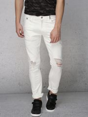 Men White Super Slim Fit Mid-Rise Mildly Distressed Stretchable Jeans