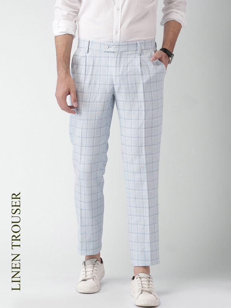 Men Blue & White Checked Slim Fit Pleated Formal Trousers