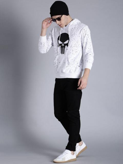 Men White & Black Printed Hooded Sweatshirt