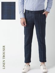 Men Navy Checked Slim Fit Pleated Formal Trousers