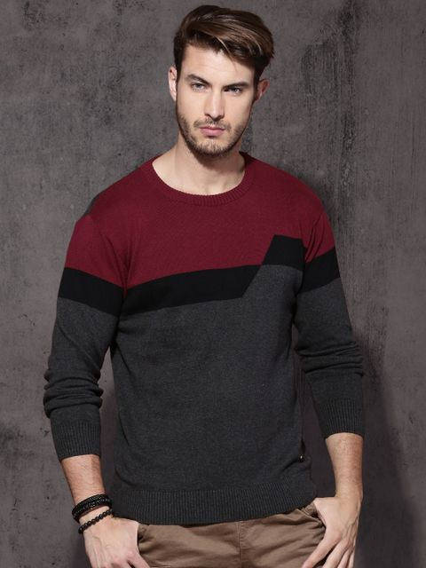 Men Charcoal Grey & Red Colourblocked Pullover