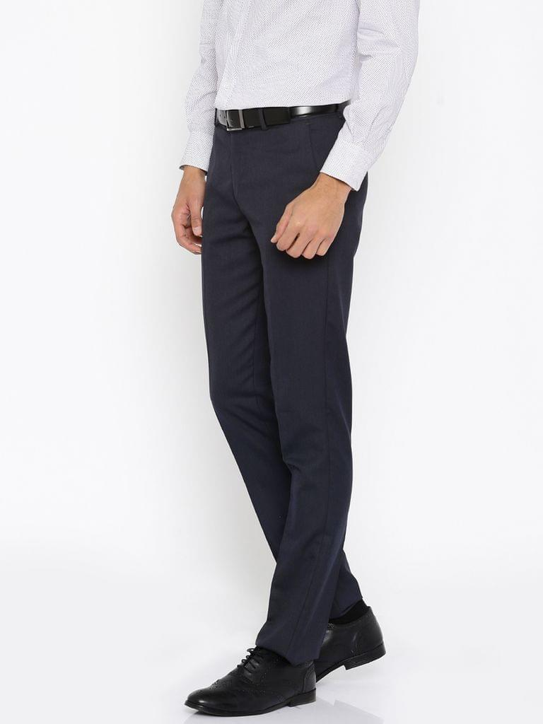 Navy Solid Slim Fit Flat-Front Trousers