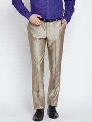 Men Beige Sharp Fit Solid Formal Trousers
