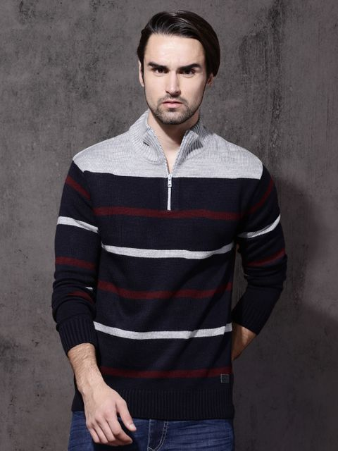 Men Navy Blue & Grey Striped Pullover