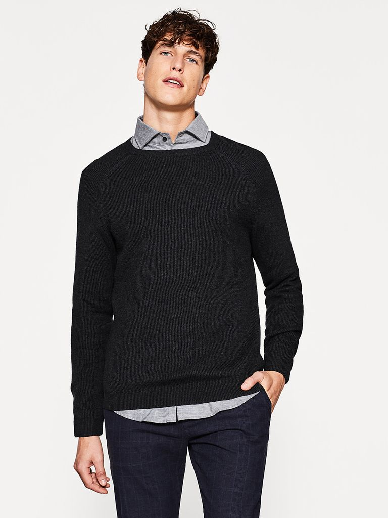Men Charcoal Grey Ribbed Sweater