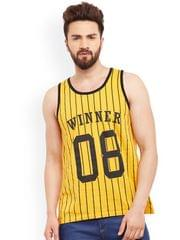 Yellow Striped & Printed Innerwear Vest