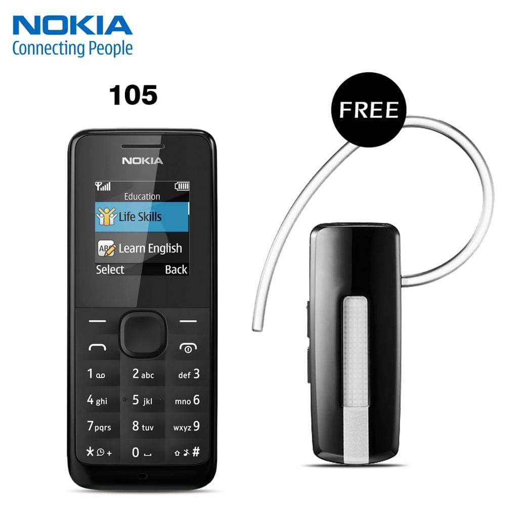 NOKIA 105 MOBILE PHONE WITH FREE BRANDED BLUETOOTH