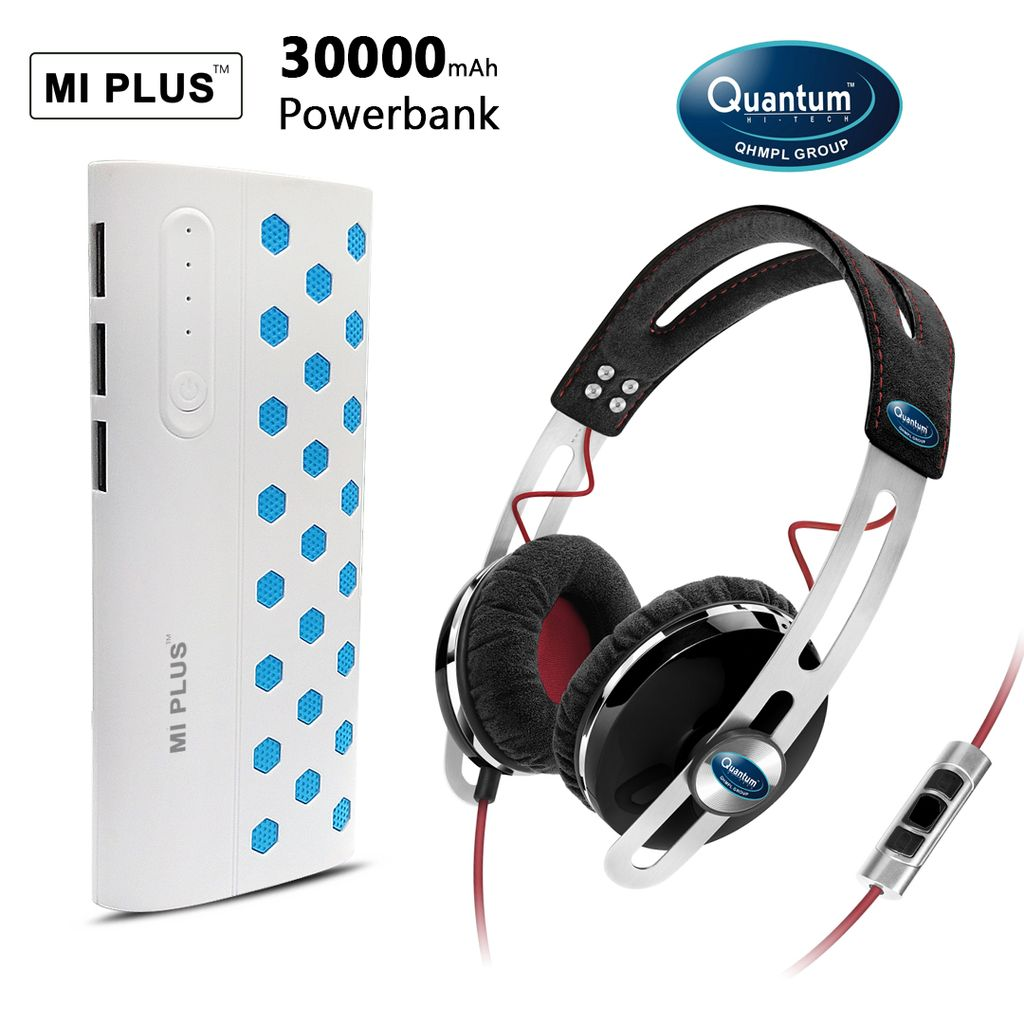 Quantum Headphone and MI PLUS 30000mAh  Power Bank