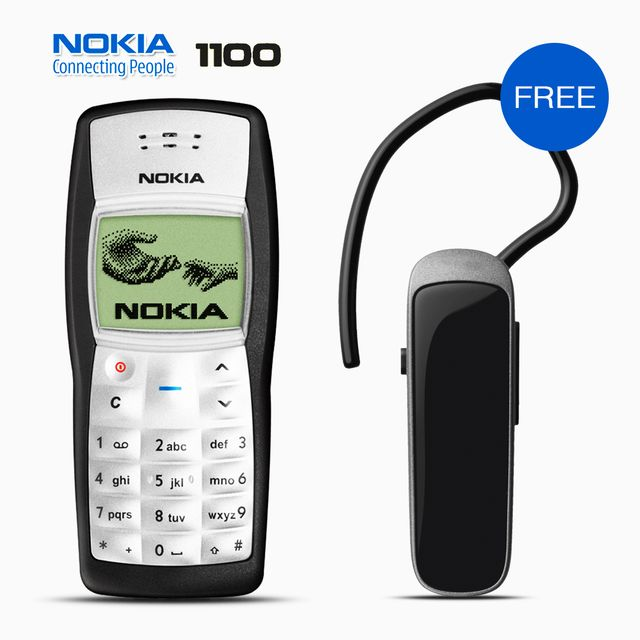 NOKIA 1100 MOBILE WITH FREE BRANDED BLUETOOTH FREE