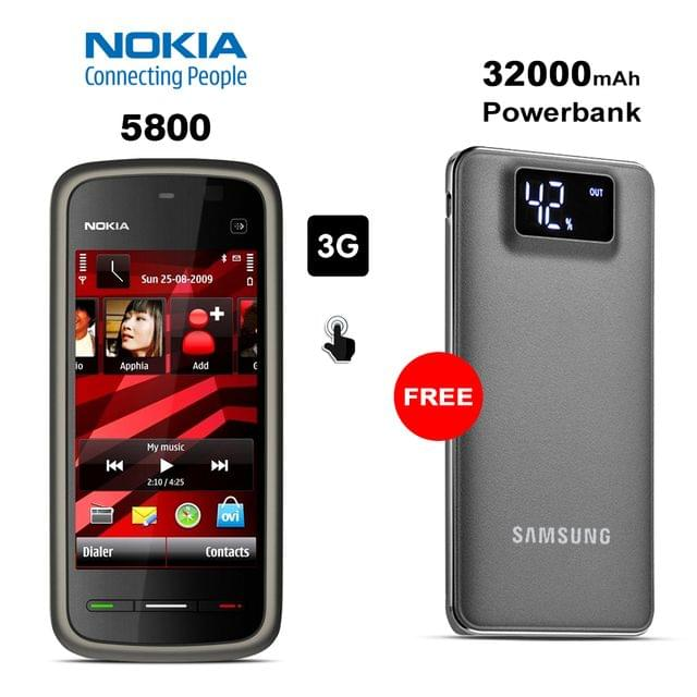 Buy Nokia 5800 Mobile Phone With Free 32000mAh Samsung Power Bank