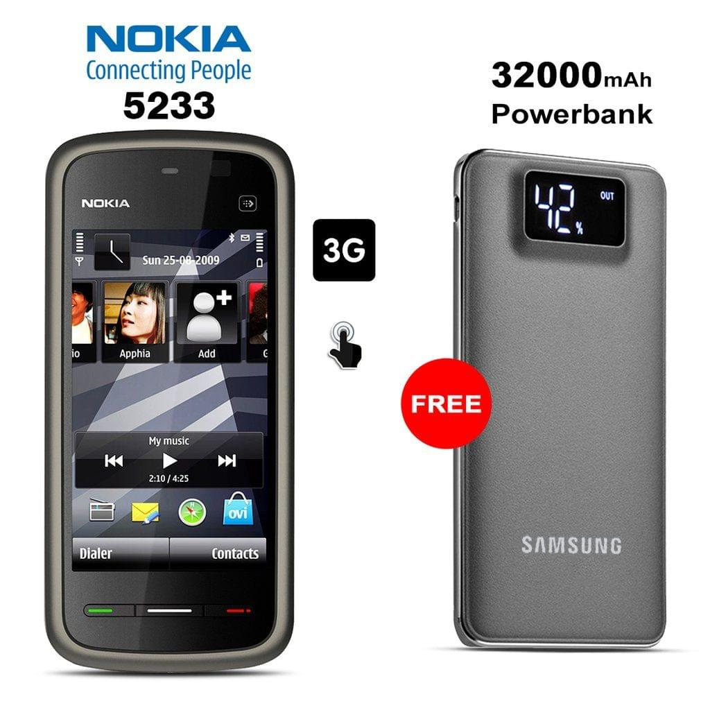 Nokia 5233 Mobile Phone With Free 32000mAh Samsung Power Bank