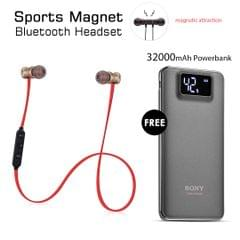 Buy Sports Magnet Headset With Free 32000mAh Power Bank