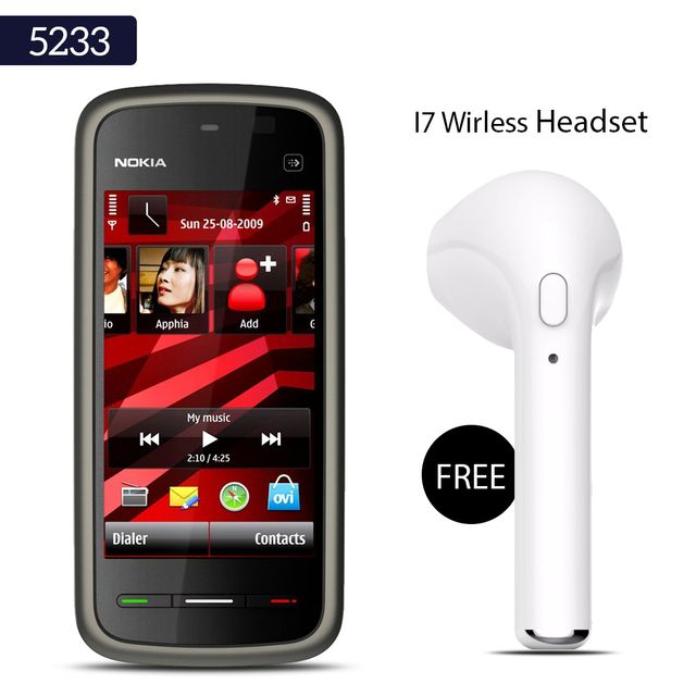 Buy Nokia 5233 Mobile Phone With Free Wireless I7 Bluetooth Headset