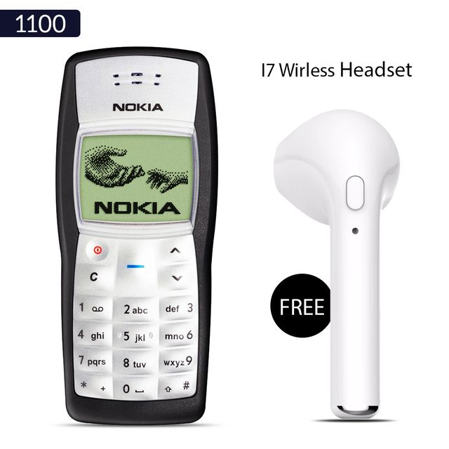 Nokia 1100 Mobile Phone With Free Wireless i7 Bluetooth Headset