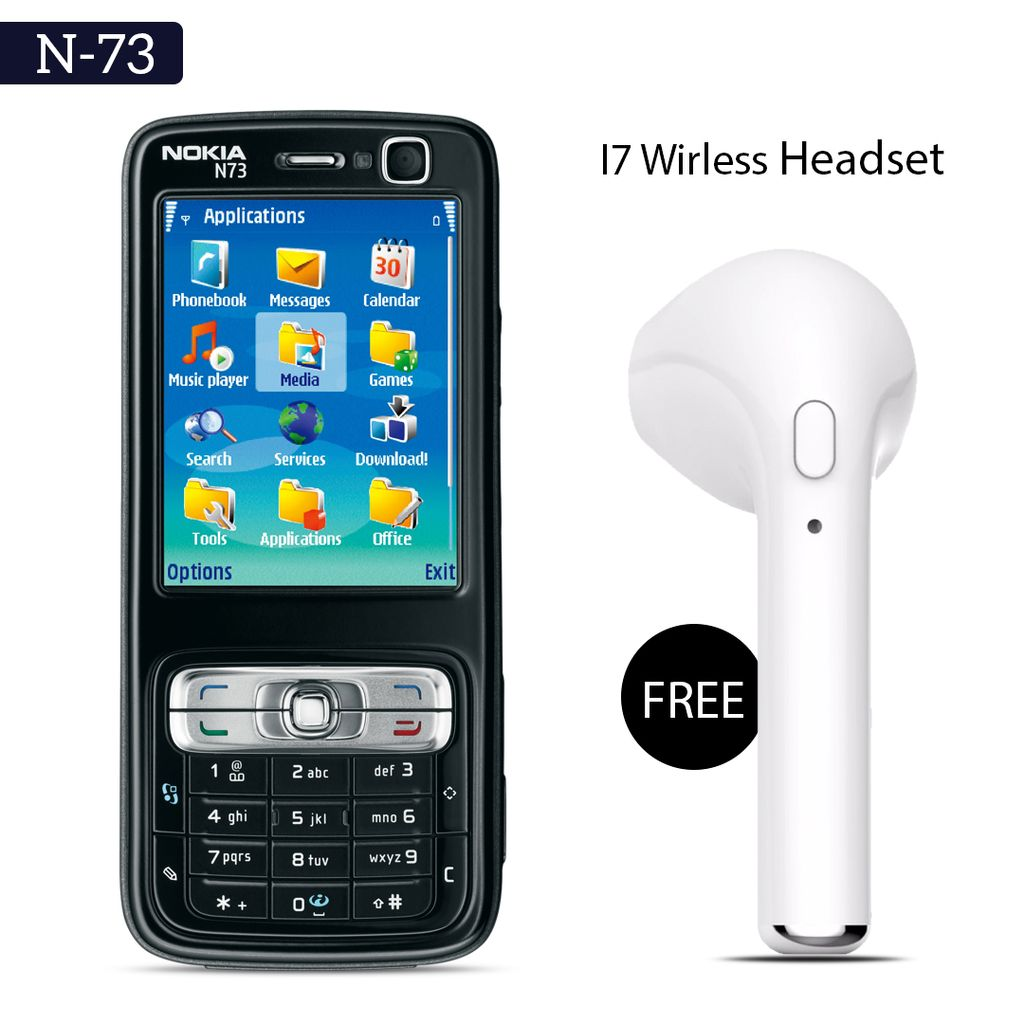 Nokia N-73 Mobile Phone With Free Wireless I7 Bluetooth Headset
