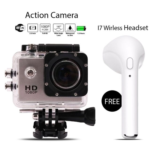 Full HD Wifi Action Sports Camera with free I7 Wireless Headset