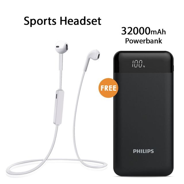 Buy Sports Headset With Free Philips 32000mAh Power Bank