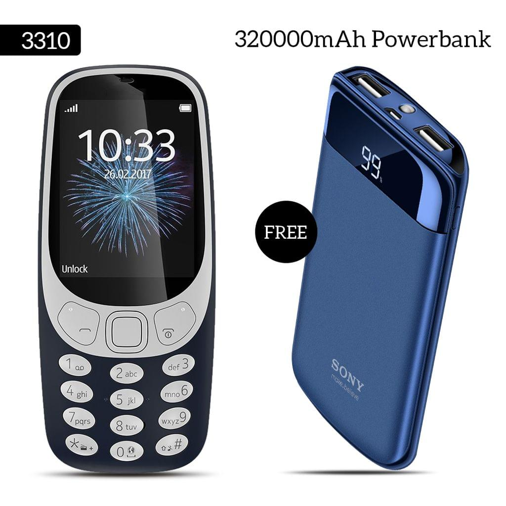 3310 Mobile Phone With Free Sony 32000mAh Power Bank
