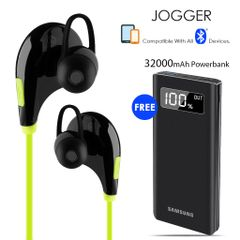 Buy Clickcases Sports JOGGER Wireless Bluetooth Headset With Free 32000mAh Samsung Power Bank