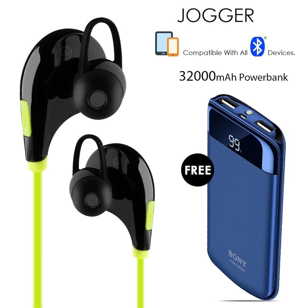 Buy Clickcases Sports JOGGER Wireless Bluetooth Headset With Free Sony 32000mAh Power Bank