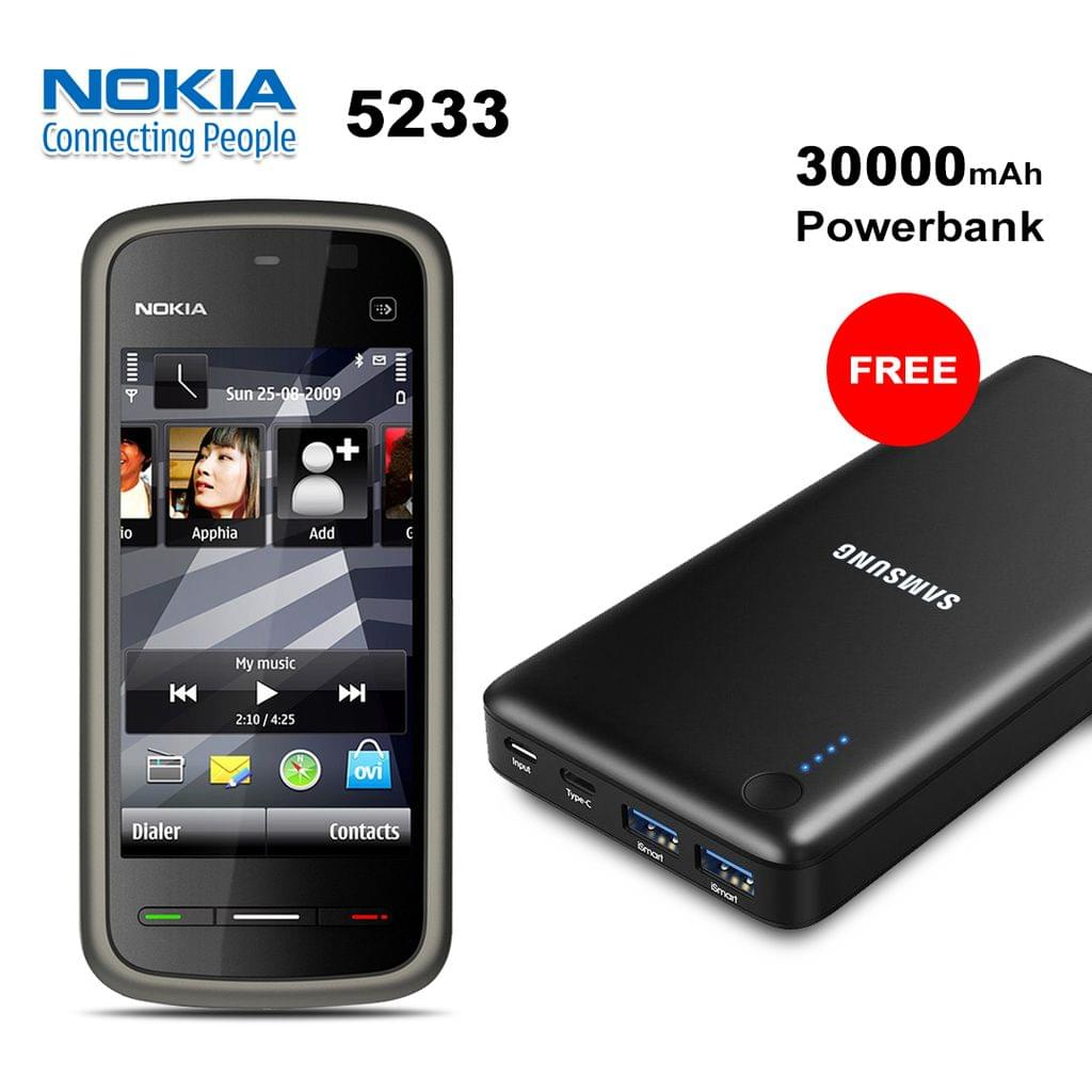 Buy Nokia 5233 Mobile Phone With Free 30000mAh Power Bank