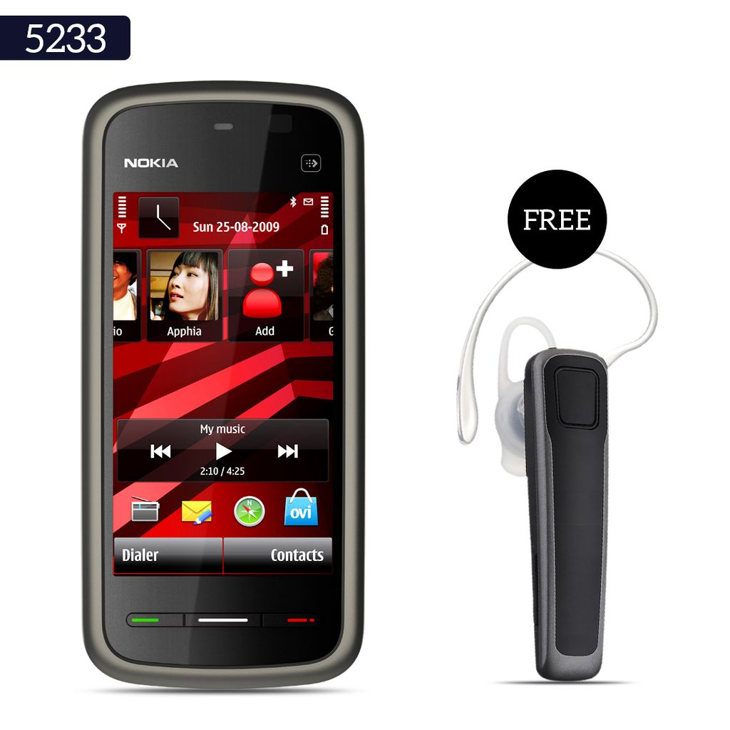 Buy Nokia 5233 Mobile Phone With Free Bluetooth