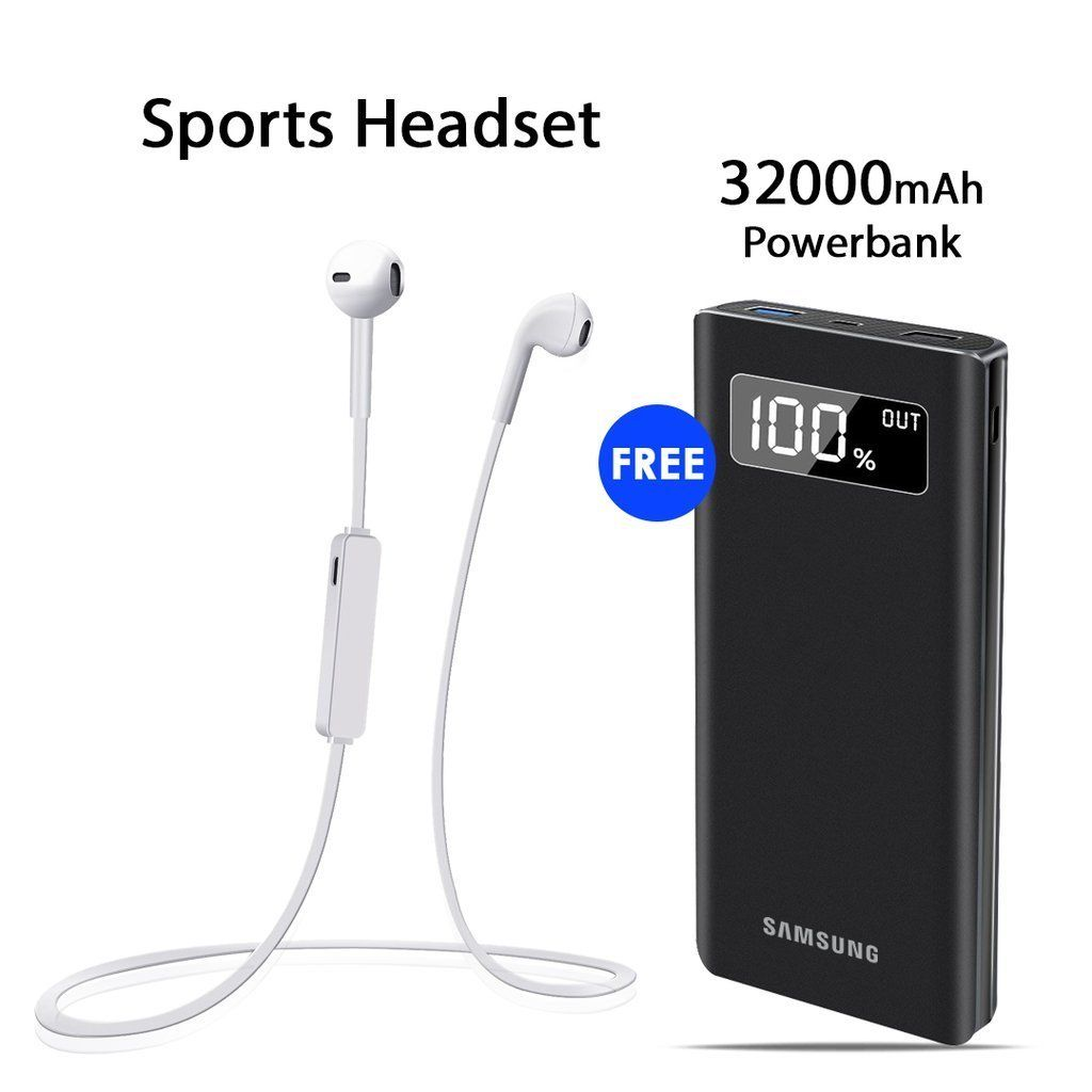 Buy Sports Headset With Free Samsung 32000mAh Power Bank