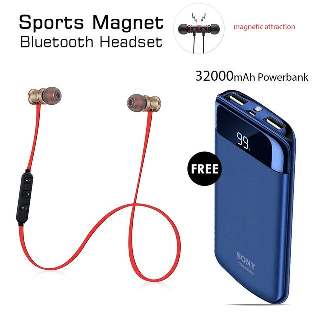 Buy Sports Magnet Headset With Free 32000mAh Sony Power Bank