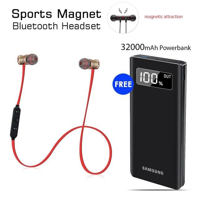 Buy Sports Magnet Headset With Free 32000mAh Samsung Power Bank