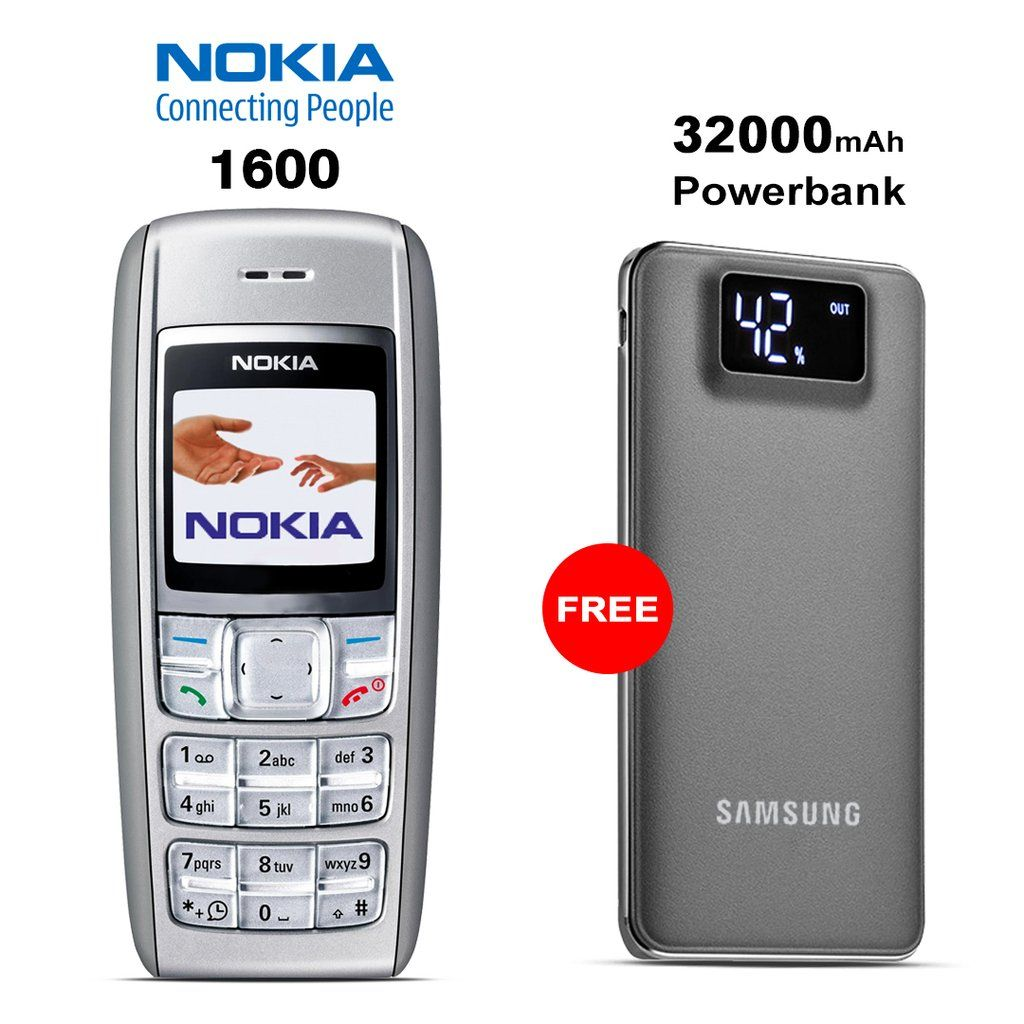 Nokia 1600 Mobile with Free Branded 32000mAh Power Bank