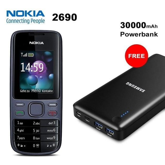 Nokia 2690 Mobile Phone with Free 30000mAh Samsung Power Bank