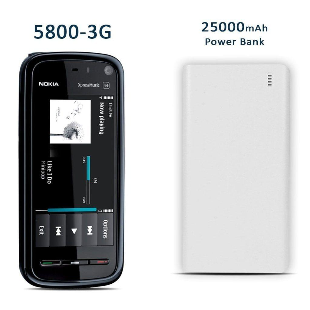 Nokia 3G 5800 Xpress Music Mobile Phone + 25000 mAh Branded Power Bank Free