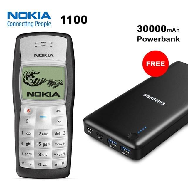 Nokia 1100 Mobile Phone With Free 30000mAh Samsung Power Bank