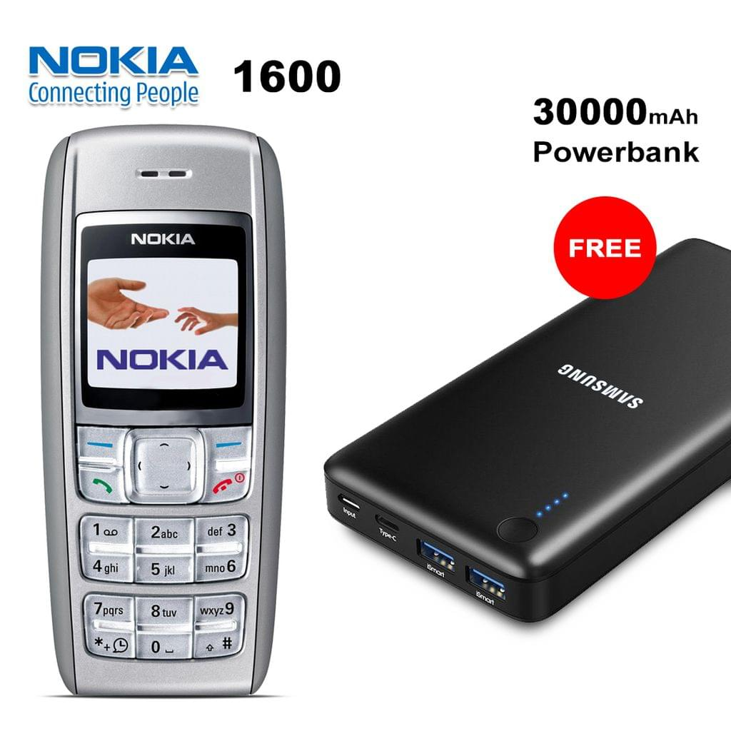 Nokia 1600 Mobile Phone With Free Samsung 30000mAh Power Bank
