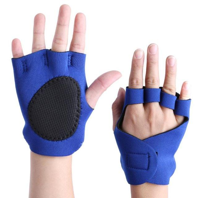 New one pair unisex anti-skid Weightlifting Half Finger Stretcher  training Pads for the barbecue palm sponge strap Gloves